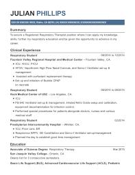 Respiratory Therapist Student Resume Kaiser Hospital Respiratory Student Resume Sample Sylmar