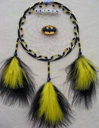 Personalized Spinning Dream Catcher Simple BATMAN Logo Black Yellow Personalised Dreamcatcher Boysgirls