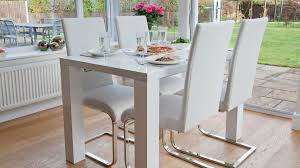 White Leather Kitchen Chairs Dining Room Appealing White Dining Table Chairs Design White