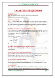 Object Oriented Design Interview Questions And Answers Pdf C Interview Question