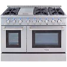 6 burner stove with double oven. Exellent Burner Thor Kitchen Gas Range With 6 Burners And Double Ovens Stainless Steel   HRG4808U Intended Burner Stove With Oven