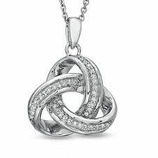 t w diamond celtic knot pendant in sterling silver