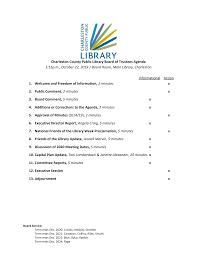 Charleston County Public Library Board of Trustees Agenda 5:15p.m., October  22, 2019 | Board Room, Main Library, Charleston Info