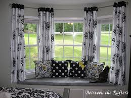 awesome pattern of white black curtains with curtain rods for bay windows