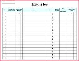 Exercise Logs Template Printable Workout Logs Journal Food And Exercise Free Danafisher Co