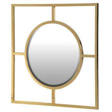 gold square frame round mirror