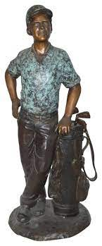 golfer with bag bronze statue size