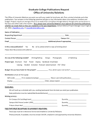 Graduate College Publications Request Office Of University