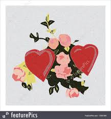 Pictures Of Hearts And Flowers Cards And Posters Image Of Two Hearts Atop Leaves And Roses