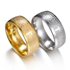 snless steel gold silver cross ring scripture high quality men s fashion creative rings jewelry