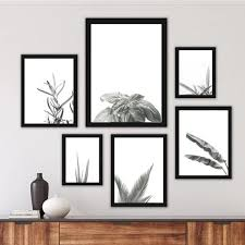 plant gallery wall set of 6 black and