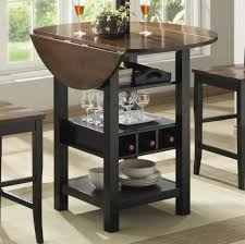round tall kitchen table with leaf and storage
