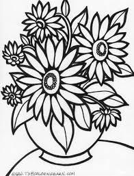 Small Picture Flowers Coloring Pages Free Printable Archives Throughout