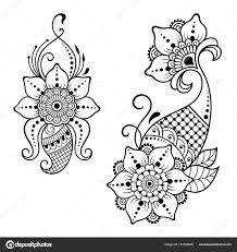 Henna Tetování Květiny šablona Indickém Stylu Etnické Květinové