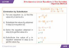 learning card for simultaneous linear equations in two variables algebraic method