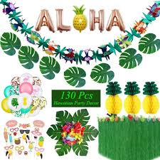 130pcs <b>Hawaiian Party Decorations Summer</b> Tropical Flamingo ...