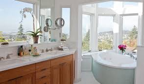 corner bathtub with a view