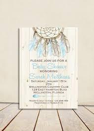 Dream Catcher Baby Shower Invitations Boho Rustic Wood Dreamcatcher Baby Shower Invitation Blue Boy 6