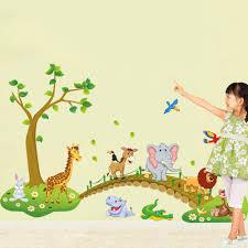 Us 126 3 Stks Grote Jungle Dieren Bridge Vinyl Muurstickers Kids Slaapkamer Behang Decals Leuke Baby Kinderen Cartoon Kamer Nursery Decor Een In 3