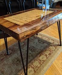 wine cork coffee table in live edge