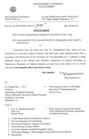 Appointment Letters Amazing Appointment Of Dean Ic For The School Of Law Pondicherry University