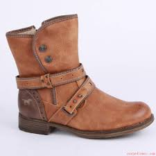 functional mustang boots womens cognac leather biker in synthetic