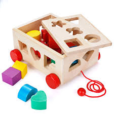 com osportfun kids car shape sorter toys puzzle baby educational wooden toy colorful children s building blocks ages 12 months and up toys