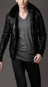 burberry fur collar leather jacket in black for men lyst