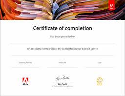 Документы об окончании Сертификат adobe