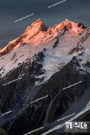 Mt Sefton at dawn, Hooker valley from Mt Kinsey, Aoraki Mount Cook ...