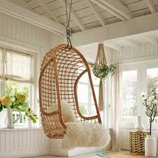 Furniture:Modern Hanging Chair With Egg Style Completed By Red Pillow Cool  Bamboo Hanging Egg