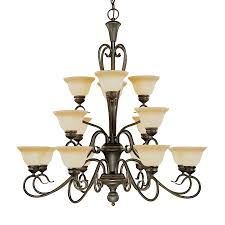 Millennium Lighting Devonshire 39-in 16-Light Burnished Gold Mediterranean  Scavo Glass Shaded Chandelier
