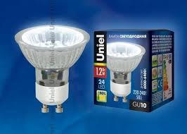 (дневной белый) <b>Uniel LED</b>-<b>JCDR</b>-<b>SMD</b>-<b>1</b>,<b>2W</b>/<b>DW</b>/<b>GU10 85</b> Lm ...
