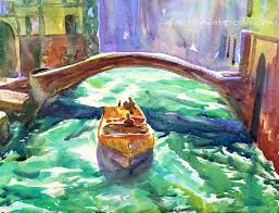 how to paint a venice boat watercolor painting tutorial 7