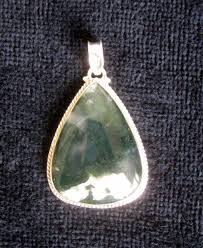 925 silver design pendant with transpa green moss agate end of 20th century