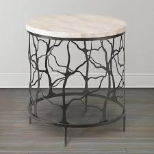 stylish oval twig end table in cast iron stone top end tables plan