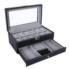 watch box leather jewelry box display drawer 12 watch men women lock organizer new