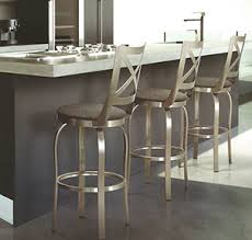 Stainless steel kitchen with brushed steel bar stools