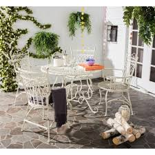 patio table and chairs 5 wrought iron furniture white rustic outdoor dining set