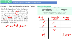 section example solving a money denomination problem section 2 4 example 1 solving a money denomination problem
