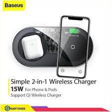 Bộ sạc không dây Baseus Simple 2 in 1 cống suất 15W sạc 2 thiết bị đồng  thời và Airpods cho iPhone, Samsung, Huawei... - Đế sạc đứng