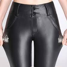 women faux leather pants plus size 4xl stretch bandage waist y capris las legging spring autumn winter pencil pants ws107 in pants capris from