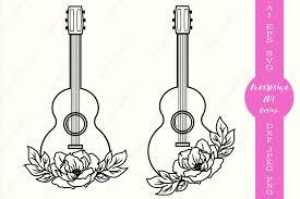 Free svg clipart & png icon. Acoustic Guitar Svg Cut File Floral Guitar Silhouette Dxf 559230 Cut Files Design Bundles