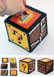 3d minecraft money box perler beads by kwaco00san a perler bead super mario bros box bank perler beads by theplayfulperler on
