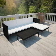 vidaxl outdoor lounge set black wicker