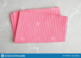 Pink Kitchen Towel On Light Marble Background Stock Image