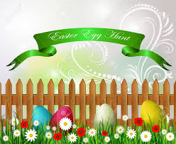 Easter Egg Hunt Background Wooden Fence Sky Grass And Flowers
