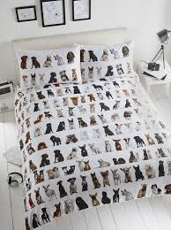 all over dogs cute puppy print white quilt duvet cover bedding set double co uk kitchen home