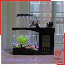 Bể Cá Mini Để Bàn Có Đèn Led và Đồng Hồ [Tặng kèm đá sỏi và cây trang trí]  giá cạnh tranh