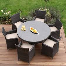 maze rattan miami 6 seat round garden furniture set